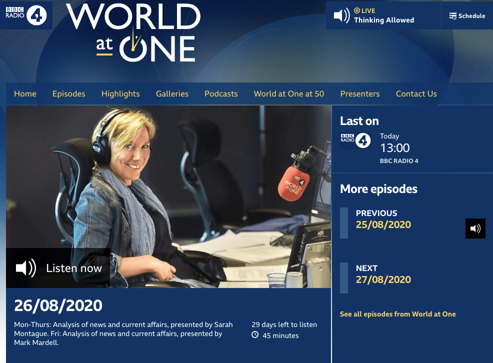 Screenshot of 'World at One' on BBC Radio 4