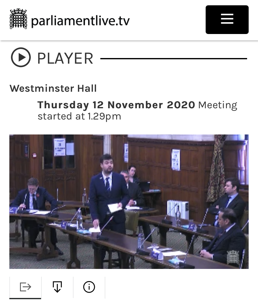Screenshot from Parliamentary Debate